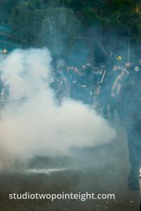 2015 Seattle May Day Protest Riot, The Protest Crowd Obscured by Large Cloud of Blast Ball Grenade Smoke and Tear Gas