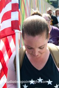 Seattle, Liberty or Death Rally, August 18, 2018, A Woman Marching with a Flag