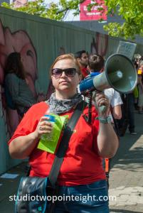 Seattle, August 18, 2018, Liberty or Death Rally Counter Protester With Amplified Bullhorn