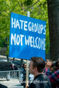 Seattle, August 18, 2018, Liberty or Death Counter Protest, Hate Groups Not Welcome Sign