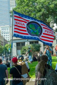 Seattle, August 18, 2018, Liberty or Death Rally Attendee Carried a MAGA PEPE Flag