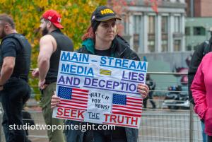 Seattle, Liberty or Death 2 Rally, Placard - Mainstream Media Lies and Deception