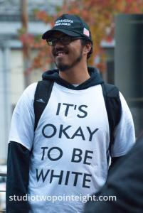 Seattle, Liberty or Death 2 Rally, December 1, 2018, A Non-European Ancestry Man Wore An Okay To Be White Shirt