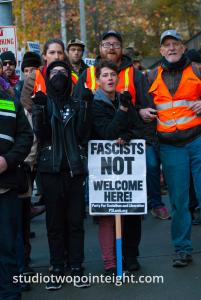 Seattle, Liberty or Death 2 Rally, December 1, 2018, Antifa and Black Bloc Counter Protesters Created A Locked Arms Sidewalk Barricade