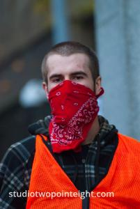 Seattle, Liberty or Death 2 Rally, December 1, 2018, Bandanna Disguised Antifa Counter Protester Was Part Of A Locked Arm Illegal Sidewalk Barricade