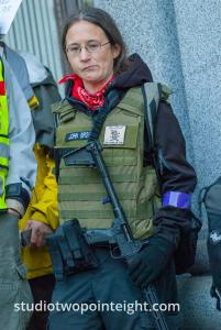 Seattle, Liberty or Death 2 Rally, December 1, 2018, Armed Female Puget Sound John Brown Gun Club Member Blocked The Sidewalk