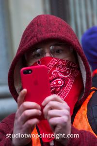 Seattle, Liberty or Death 2 Rally, December 1, 2018, A Marxist Antifa Counter Protester Photographed Being Photographed