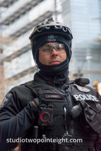 Seattle, Liberty or Death 2 Rally, December 1, 2018, This Seattle Police Officer Appeared Frightened Rather Than Fierce