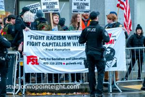 Seattle Liberty or Death 2 Rally December 1, 2018 Counter Protesters Displayed a Large Party for Socialism and Liberty Banner