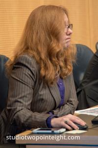 Seattle City Council, March 18, 2019, Council Member Lisa Herbold Look At Her Computer While Residents Testified