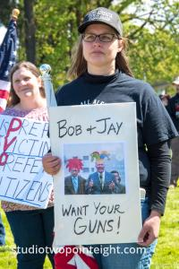 March For Our Rights 2.0, Gun Rights Rally, 2019 April 27, Attendee With Bob And Jay Want Your Guns Poster