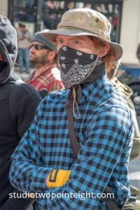 Seattle May 1, 2019 May Day Immigration Rally, An Antifa Black Bloc Terrorist Who Didn't Get The All Black Memo