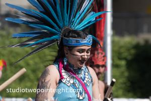 Seattle May 1, 2019 May Day Immigration Rally, Ceatl Tonalli Aztec Dancers Wearing A Blue Headdress