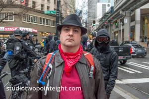 Studio 2.8, December 7, 2019, Pearl Harbor Day, McGraw Square Seattle, Anarchist Later Arrested, Trying To Be Intimidating