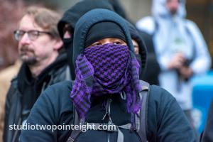 Studio 2.8, December 7, 2019, McGraw Square Seattle, Purple Bandanna Disguised Black Bloc Anarchist Later Arrested
